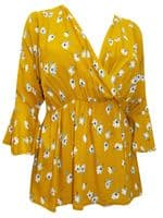 MUSTARD FLORAL PRINT FRILL WRAP TOP NEW SIZES 16-32